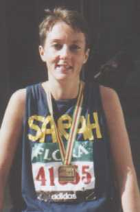 Sarah after completing the London Marathon